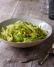 Shredded Green Cabbage Salad with Lemon and Garlic