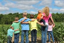 The 7 Farabaugh siblings spend many hours exploring and helping out at Blue Goose Farm.